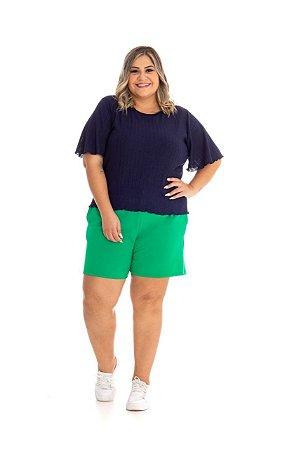 Blusa Feminina Plus Size Malha Tricot Canelado