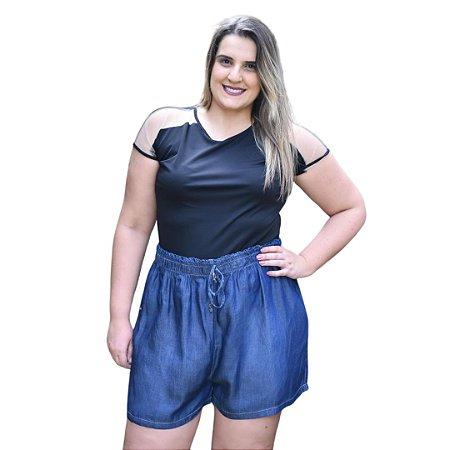 Shorts Feminino Plus Size Soltinho  Jeans