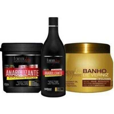Forever liss Kit Fortifique e Brilhe Shampoo Fortificante 300ML + Máscara Fortificante 240G + Máscara Banho de Verniz 250G
