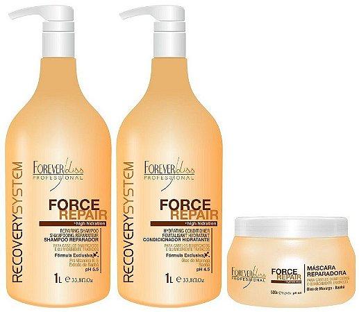 Forever liss Force Repair Kit Shampoo, Condicionador Máscara Profissional Reconstrução Capilar