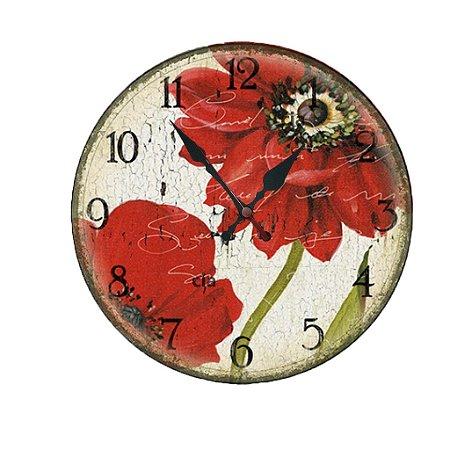 Relógio de Parede Flores com 49 cm