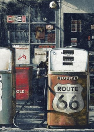 Placa MDF 28 x 20 - Bomba Gasolina Route 66