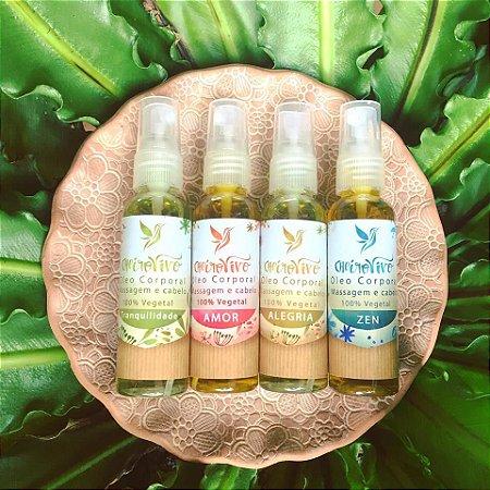 Kit 4 óleos de 60ml cada e ganha uma ecobag - Alegria - Amor - Tranquilidade - Zen