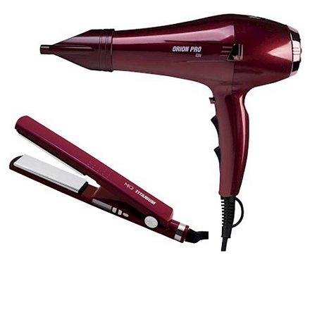 Mq Hair Profissional Secador Orion+Prancha Titanium Marsala
