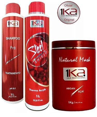 Kit Completo Escova Progressiva Inteligente 1ka Steel sheld Thermo Acrylic -Hair Professional