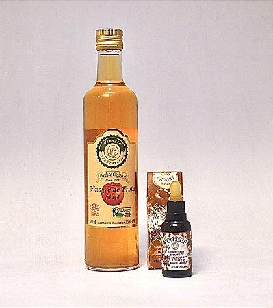 Kit Imunidade -Vinagre orgânico de maçã - 500 ml + Extrato de Própolis Verde com  Extrato de Pólen Apícola - 30 ml +Mel Mandala Silvestre 800 g