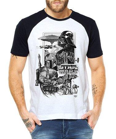 Camiseta Masculina Raglan  Filme Star Wars Geek Nerd - Personalizadas/ Customizadas/ Estampadas/ Camiseteria/ Estamparia/ Estampar/ Personalizar/ Customizar/ Criar/ Camisa Blusas Baratas Modelos Legais Loja Online
