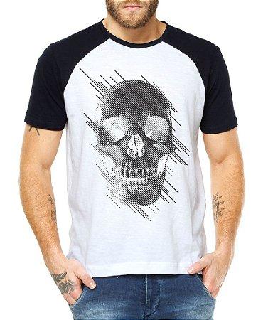 Camiseta Masculina Raglan Caveira Estilizada Caveiras e Tattoos - Personalizadas/ Customizadas/ Estampadas/ Camiseteria/ Estamparia/ Estampar/ Personalizar/ Customizar/ Criar/ Camisa Blusas Baratas Modelos Legais Loja Online