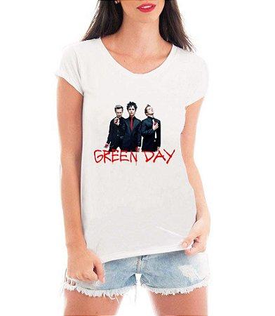 Camiseta Banda Green Day Feminina Rock- Personalizadas/ Customizadas/ Estampadas/ Camiseteria/ Estamparia/ Estampar/ Personalizar/ Customizar/ Criar/ Camisa Blusas Baratas Modelos Legais Loja Online