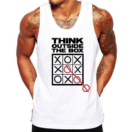 Camiseta Regata Masculina Pense Fora Da Caixa Geek Criativa - Personalizadas/ Customizadas/ Estampadas/ Camiseteria/ Estamparia/ Estampar/ Personalizar/ Customizar/ Criar/ Camisa Blusas Baratas Modelos Legais Loja Online