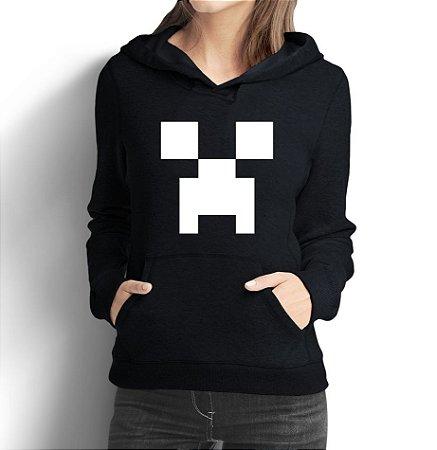 Moletom Feminino Minecraft Creeper Face Nerd Geek - Moletons Personalizados Blusa/ Casacos Baratos/ Blusão/ Jaqueta Canguru