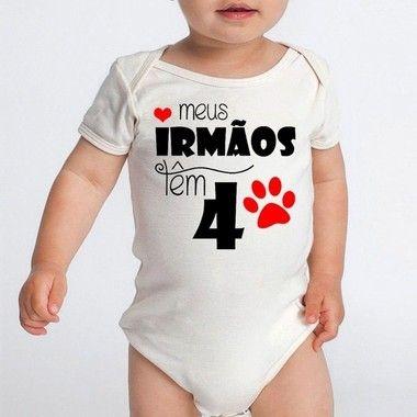 Body Bebê Irmãos Mana Dog Frases Engraçadas - Roupinhas Macacão Infantil Bodies Roupa Manga Curta Menino Menina Personalizados