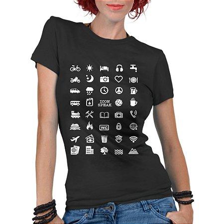 Camiseta Feminina Viajante 40 Icon Speak - Personalizadas/ Customizadas/ Estampadas/ Camiseteria/ Estamparia/ Estampar/ Personalizar/ Customizar/ Criar/ Camisa Blusas Baratas Modelos Legais Loja Online