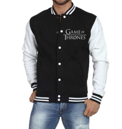 Jaqueta College Masculina Game Of Thrones Winter is Coming Stark  Casaco Moletom  - Jaquetas Colegial/ Americana/ Universitária/ Baseball/ de Frio/ Preto e Branco/ Personalizadas/ Blusas/ Casacos/ Blusão Baratos