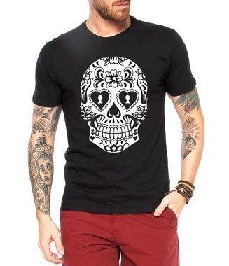 Camiseta Masculina Caveira Mexicana Cartas - Personalizadas/ Customizadas/ Estampadas/ Camiseteria/ Estamparia/ Estampar/ Personalizar/ Customizar/ Criar/ Camisa Blusas Baratas Modelos Legais Loja Online