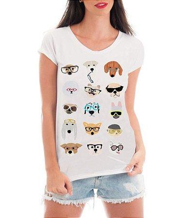 Camiseta Tshirt Feminina Rendada Pet Dogs Glasses Engraçadas Humor - Personalizada/ Estampadas/ Camiseteria/ Estamparia/ Estampar/ Personalizar/ Customizar/ Criar/ Camisa T-shirts Blusas Baratas Modelos Legais Loja Online