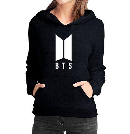 Moletom Feminino BTS Banda Pop Nova Logo BTS Bangtan Boys  - Moletons Personalizados Blusa/ Casacos Baratos/ Blusão/ Jaqueta Canguru