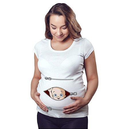 Camiseta Feminina Gestante Bebê Espiando Zíper Menino