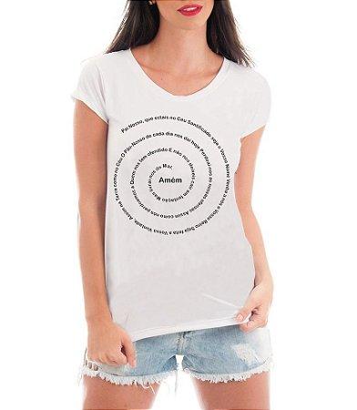 Camiseta Tshirt Blusa Feminina Rendada Oração Pai Nosso Gospel Religiosa Evangélica - Frases Religiosas (de Renda) Personalizadas/ Customizadas/ Estampadas/ Camiseteria/ Estamparia/ Estampar/ Personalizar/ Customizar/ Criar/ Camisa T-shirts Blusas