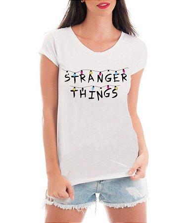 Camiseta Feminina Rendada Stranger Things Séries e Seriados de Renda Personalizadas / Customizadas / Estampadas / Camiseteria / Estamparia / Estampar / Personalizar / Customizar / Criar / Camisa T-shirts Blusas