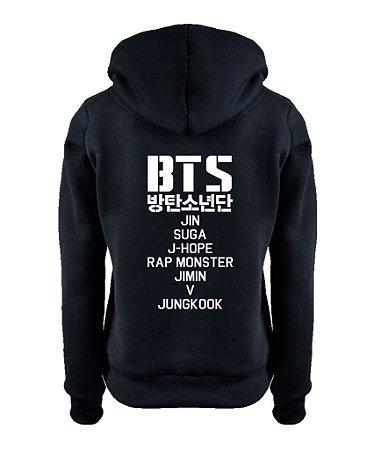 Moletom Feminino Bts Bangtan Boys Kpop Nomes Integrantes Nova Logo BTS  - Moletons Personalizados Blusa/ Casacos Baratos/ Blusão/ Jaqueta Canguru