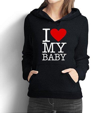 Moletom Feminino De Gestantes Grávidas Engraçadas I Love My Baby - Moletons Personalizados Blusa/ Casacos Baratos/ Blusão/ Jaqueta Canguru