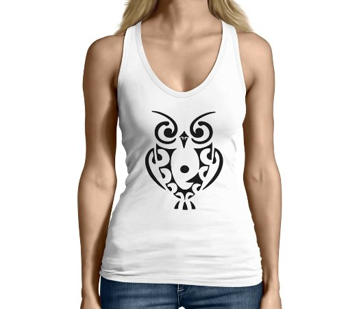 Camiseta Regata Feminina Coruja Tattoo - Personalizadas/ Customizadas/ Camiseteria/ Camisa T-shirts Baratas Modelos Legais Loja Online