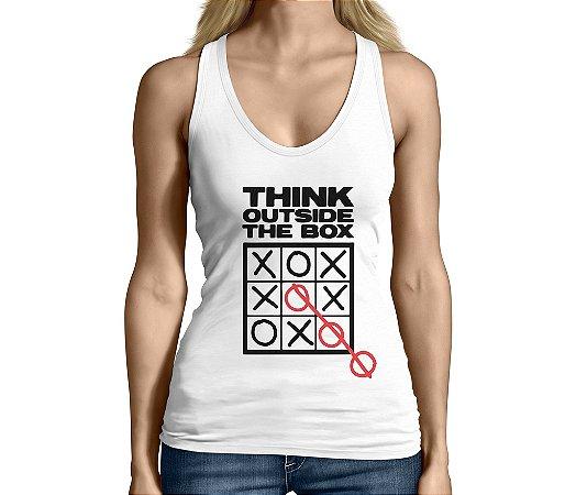 Camiseta Regata Feminina Frases Nerd Geek Pense Fora da Caixa - Personalizadas/ Customizadas/ Camiseteria/ Camisa T-shirts Baratas Modelos Legais Loja Online