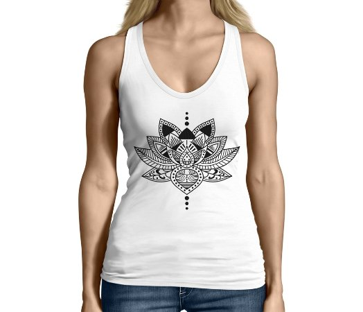 Camiseta Regata Feminina Flor de Lotus Budista - Personalizadas/ Customizadas/ Camiseteria/ Camisa T-shirts Baratas Modelos Legais Loja Online