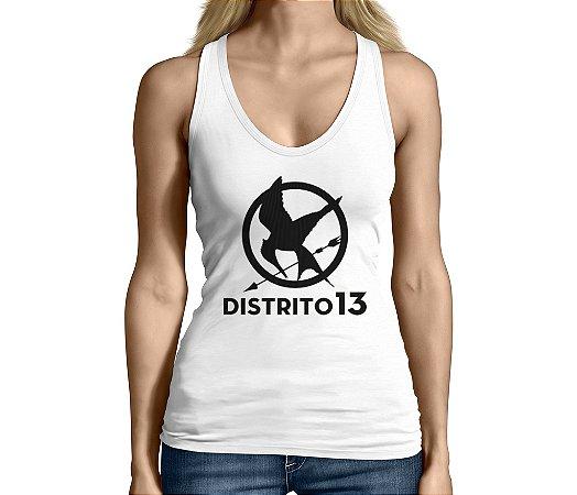 Camiseta Regata Feminina Jogos Vorazes Tordo Distrito 13  - Personalizadas/ Customizadas/ Camiseteria/ Camisa T-shirts Baratas Modelos Legais Loja Online