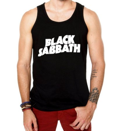 Camiseta Regata Masculina Black Sabbath Banda de Rock - Personalizadas/ Customizadas/ Estamp  - Personalizadas/ Customizadas/ Estampadas/ Camiseteria/ Estamparia/ Estampar/ Personalizar/ Customizar/ Criar/ Camisa Blusas Baratas Modelos Legais Loja Online