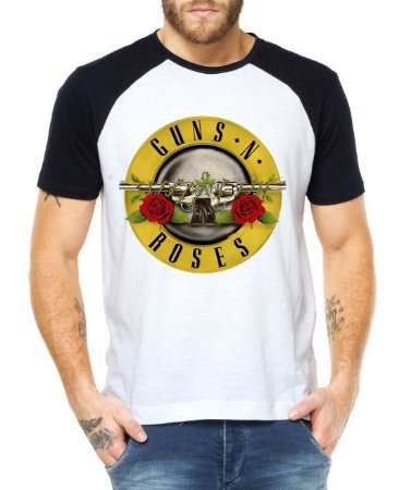 Camiseta Raglan Guns N Roses Bandas de Rock Logo  - Personalizadas/ Customizadas/ Estampadas/ Camiseteria/ Estamparia/ Estampar/ Personalizar/ Customizar/ Criar/ Camisa Blusas Baratas Modelos Legais Loja Online