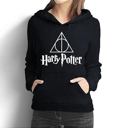 Moletom Feminino Harry Potter Relíquias Da Morte - Moletons Personalizados Blusa/ Casacos Baratos/ Blusão/ Jaqueta Canguru
