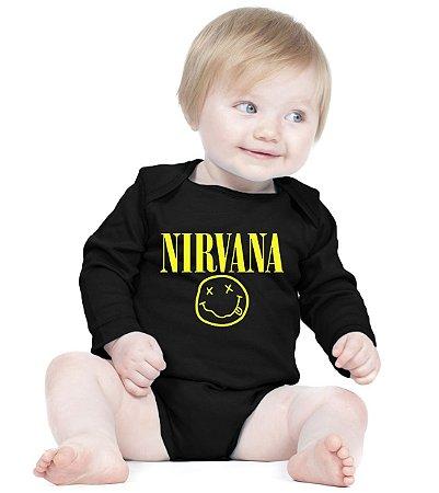 Body Banda Rock Nirvana - Roupinhas Macacão Infantil Bodies Roupa Manga Longa Menino Menina Personalizados