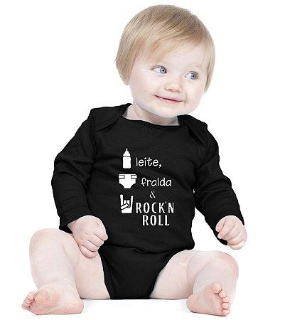 Body Bebê Frases Engraçadas de Rock 'n Roll - Roupinhas Macacão Infantil Bodies Roupa Manga Longa Menino Menina Personalizados