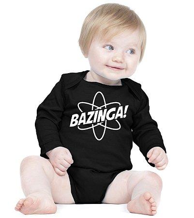 Body Bebê Bazinga Nerd Geek Sheldon Big Bang Seriado - Roupinhas Macacão Infantil Bodies Roupa Manga Longa Menino Menina Personalizados