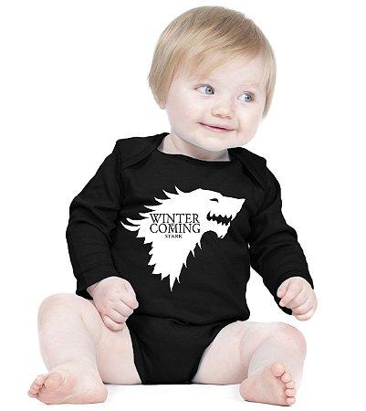 Body Game Of Thrones Winter Is Coming Stark - Roupinhas Macacão Infantil Bodies Roupa Manga Longa Menino Menina Personalizados