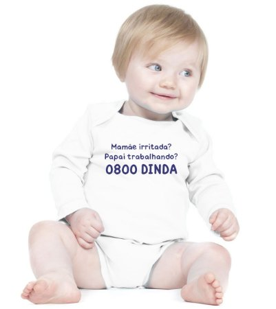 Body Frases Engraçadas 0800 DINDA  - Roupinhas Macacão Infantil Bodies Roupa Manga Longa Menino Menina Personalizados
