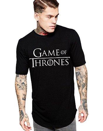 Camiseta Long Line Oversized Masculina Preta Game Of Thrones Camisetas Barra Curvada - Camisetas Personalizadas/ Customizadas/ Estampadas/ Camiseteria/ Estamparia/ Estampar/ Personalizar/ Customizar/ Criar/ Camisa Blusas Baratas Modelos Legais Loja Online
