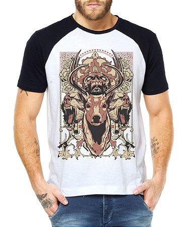 Camiseta Raglan Alce Selvagem - Personalizadas/ Customizadas/ Estampadas/ Camiseteria/ Estamparia/ Estampar/ Personalizar/ Customizar/ Criar/ Camisa Blusas Baratas Modelos Legais Loja Online