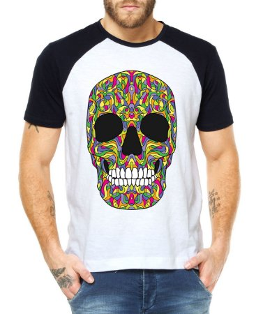 Camiseta Raglan Caveira Mexicana Colorida - Personalizadas  Customizadas   Estampadas  Camiseteria  Estamparia  cfbc54c4551