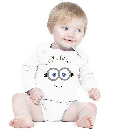 Body Bebê Minions Desenho Meu Malvado Favorito Amor de Fã Branca - Roupinhas Macacão Infantil Bodies Roupa Manga Longa Menino Menina Personalizados