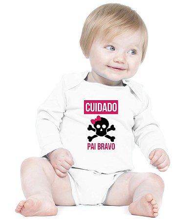 Body Bebê Branco Frases Engraçadas e Divertidas Papai Bravo Manga Longa  - Roupinhas Macacão Infantil Bodies Roupa Manga Longa Menino Menina Personalizados