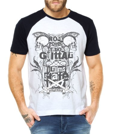 Camiseta Masculina Raglan Rock Power Caveiras - Personalizadas/ Customizadas/ Estampadas/ Camiseteria/ Estamparia/ Estampar/ Personalizar/ Customizar/ Criar/ Camisa Blusas Baratas Modelos Legais Loja Online