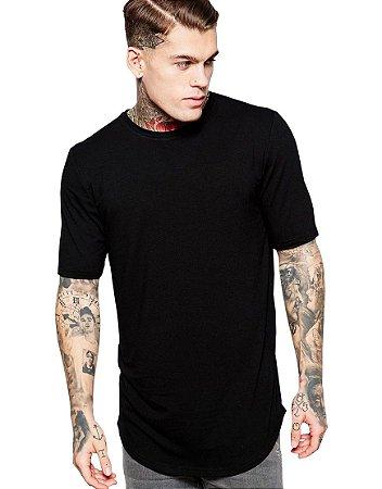 Camiseta Long Line Oversized Masculina Preta Lisa Básica Barra Curvada - Camisetas Camiseteria Estamparia Camisa Blusas Baratas Modelos Legais Loja Online