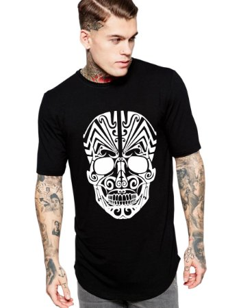 Camiseta Long Line Oversized Masculina Caveira Tribal Camisetas Barra Curvada - Camisetas Personalizadas/ Customizadas/ Estampadas/ Camiseteria/ Estamparia/ Estampar/ Personalizar/ Customizar/ Criar/ Camisa Barata Modelos Legais Loja Online