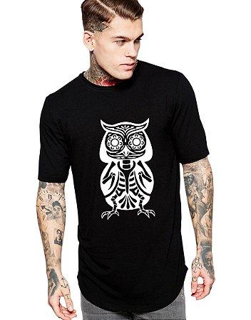 Camiseta Long Line Oversized Masculina Coruja Mexicana Ossos Camisetas Barra Curvada - Camisetas Personalizadas/ Customizadas/ Estampadas/ Camiseteria/ Estamparia/ Estampar/ Personalizar/ Customizar/ Criar/ Camisa Barata Modelos Legais Loja Online