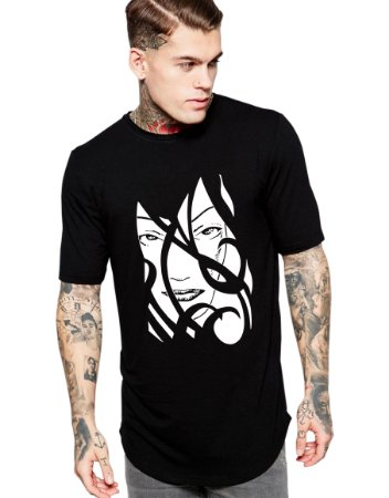 Camiseta Long Line Oversized Masculina Face Mulher Sexy Tribal Camisetas Barra Curvada - Camisetas Personalizadas/ Customizadas/ Estampadas/ Camiseteria/ Estamparia/ Estampar/ Personalizar/ Customizar/ Criar/ Camisa Barata Modelos Legais Loja Online