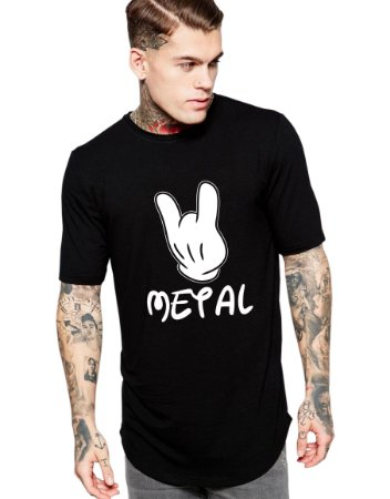Camiseta Long Line Oversized Masculina Disney Metal Mickey Camisetas Barra Curvada - Camisetas Personalizadas/ Customizadas/ Estampadas/ Camiseteria/ Estamparia/ Estampar/ Personalizar/ Customizar/ Criar/ Camisa Blusas Baratas Modelos Legais Loja Online