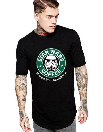 Camiseta Long Line Oversized Masculina Star Wars Coffe Camisetas Barra Curvada - Camisetas Personalizadas/ Customizadas/ Estampadas/ Camiseteria/ Estamparia/ Estampar/ Personalizar/ Customizar/ Criar/ Camisa Blusas Baratas Modelos Legais Loja Online